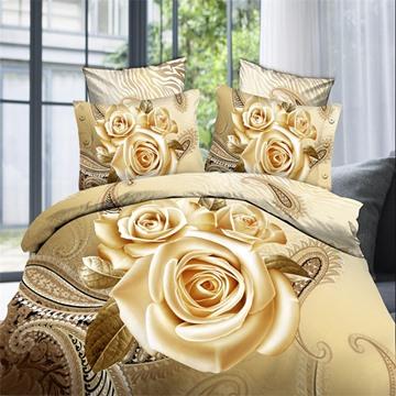 Floral Pattern Cotton Material Four-Piece Set 3D Bedding Sets