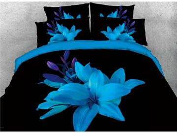 Blue Flower Blooming in the Dark Printed 3d Cotton 4-Piece Bedding Sets/Duvet Cover