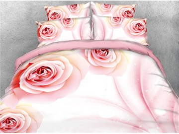 Blush Pink Rose Printed Cotton 4-Piece 3D Bedding Sets/Duvet Covers