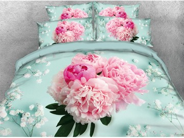 3D A Bouquet of Blush Pink Flowers Printed Cotton 4-Piece Bedding Sets/Duvet Covers