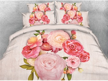 3D A Bouquet of Peonies Digital Printing 4-Piece Bedding Sets/Duvet Covers