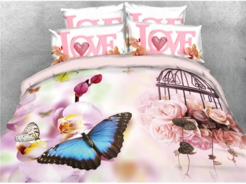 Vivilinen 3D Butterflies and Blush Pink Peonies Digital Printed 4-Piece Bedding Sets/Duvet Covers