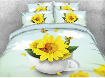 3D Sunflower and Butterfly in White Container Digital Printing 4-Piece Bedding Sets/Duvet Covers