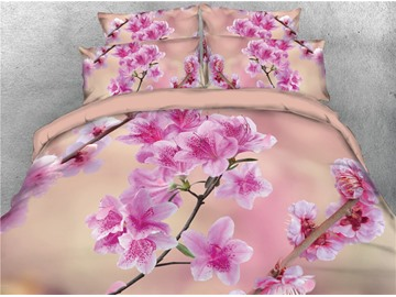 Vivilinen Vibrant Peach Blossom Blush Pink Digital Printing 3D 4-Piece Bedding Sets/Duvet Covers