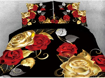 Red and Golden Rose Luxury Digital Printing Cotton 4-Piece 3D Bedding Sets/Duvet Covers