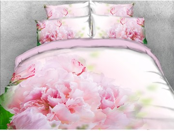 3D Blush Pink Blooming Flower Digital Printing Cotton 4-Piece Bedding Sets/Duvet Covers
