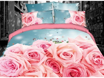 Pink Roses Romantic Digital Printing Cotton 3D 4-Piece Bedding Sets/Duvet Covers