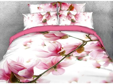 Vibrant Pink Flower Digital Printing Cotton 4-Piece 3D Bedding Sets/Duvet Covers