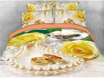 Yellow Rose and Pearl Necklace Digital Printed 4-Piece 3D Bedding Sets/Duvet Covers