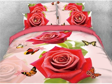 Red Rose and Butterflies Digital Printed 4-Piece 3D Bedding Sets/Duvet Covers