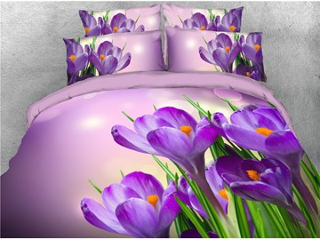 Purple Fresh Flowers Printed 4-Piece 3D Bedding Sets/Duvet Covers
