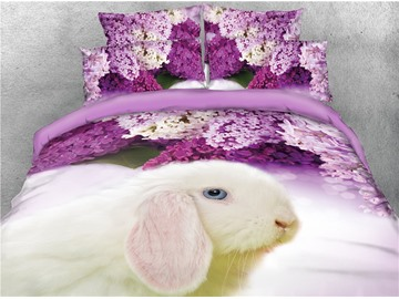 White Rabbit and Purple Lilac Digital Printed 4-Piece 3D Bedding Sets/Duvet Covers