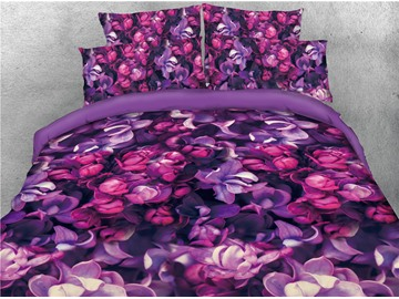 Purple Iris Flower Printed 4-Piece Cotton 3D Bedding Sets/Duvet Covers