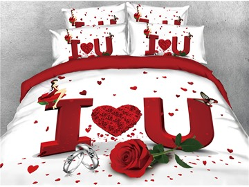 I Love U Red Rose and Ring Printed 4-Piece 3D Bedding Sets/Duvet Covers