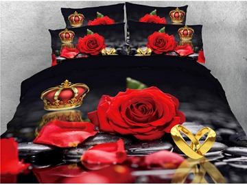 Red Rose and Crown Gold Ring Printed 4-Piece 3D Bedding Sets/Duvet Covers