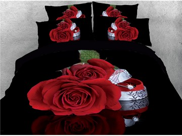 Red Rose and Diamond Ring Printed 4-Piece 3D Bedding Sets/Duvet Covers