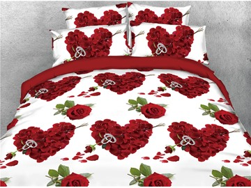 Heart-shaped Rose Petals & Ring Printed 4-Piece 3D Red Bedding Sets/Duvet Covers