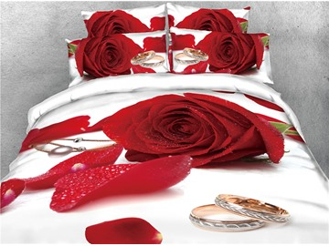 Red Rose with Water and Ring Printed 4-Piece 3D Bedding Sets/Duvet Covers