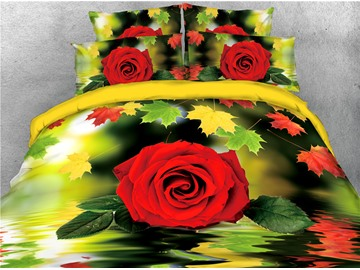 Red Rose and Maple Leaves Water Printed 3D 4-Piece Bedding Sets/Duvet Covers