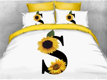 S Shape and Sunflower Printed 3D 4-Piece White Bedding Sets/Duvet Covers