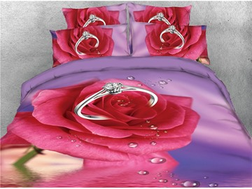 Fresh Red Rose and Water Diamond Ring 4-Piece 3D Bedding Sets/Duvet Covers
