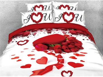 Red Rose and Heart Shape Printed Romantic 4-Piece 3D Bedding Sets/Duvet Covers