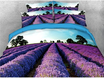 Lavender Garden Printed Purple 4-Piece 3D Bedding Sets/Duvet Covers