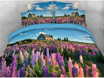 Purple Lavender Field Printed 4-Piece 3D Bedding Sets/Duvet Covers