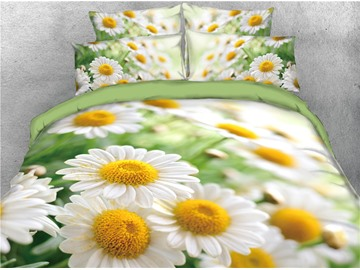 White Daisy Field Fresh Flower Printed 4-Piece 3D Bedding Sets/Duvet Covers