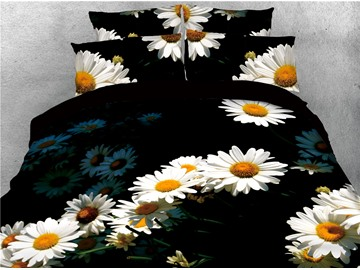 White Daisy Printed 4-Piece 3D Black Bedding Sets/Duvet Covers