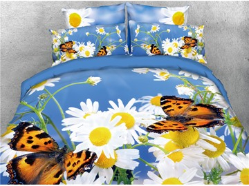 White Daisy and Butterflies Printed 4-Piece 3D Bedding Sets/Duvet Covers