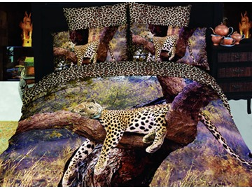 3D Sleepy Leopard Printed Cotton 4-Piece Bedding Sets/Duvet Covers