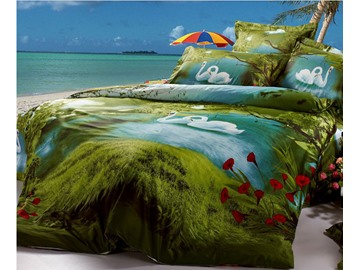 3D Swan Lake Printed Cotton 4-Piece Green Bedding Sets/Duvet Covers