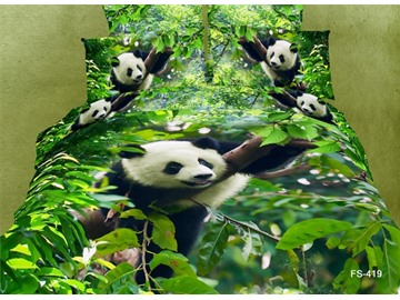 US Only 3D Panda Climbing Tree Printed Cotton 4-Piece Green Bedding Sets/Duvet Covers From the US Only 6 Left In Stock Order Soon