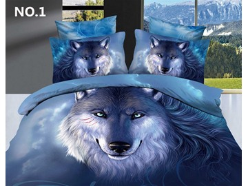 3D Oil Painting Wolf Cotton 4-Piece Blue Bedding Sets/Duvet Covers