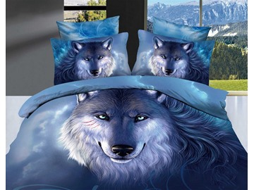 US Only 3D Oil Painting Wolf Cotton 4-Piece Blue Bedding Sets Duvet Covers Shipped From the US Only 16 Left In Stock Order Soon