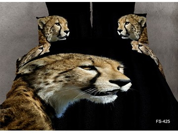 3D Cheetah Printed Cotton 4-Piece Black Bedding Sets/Duvet Covers