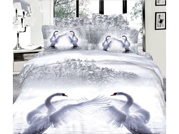 3D White Swans Printed Cotton 4-Piece Bedding Sets/Duvet Covers