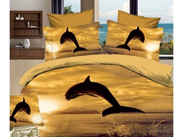3D Jumping Dolphin at Sunset Printed Cotton 4-Piece Bedding Sets/Duvet Covers