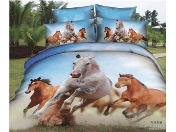 3D Running Horses Printed Rustic Style Cotton 4-Piece Bedding Sets/Duvet Covers