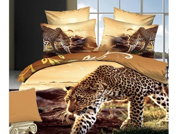 3D Walking Leopard Printed Cotton 4-Piece Bedding Sets/Duvet Covers