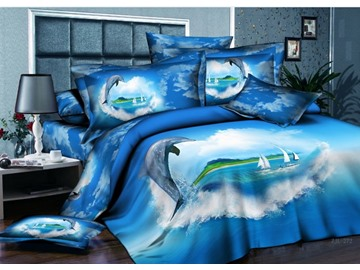 3D Dolphin and Hear-shaped Cloud Printed Cotton 4-Piece Blue Bedding Sets/Duvet Covers