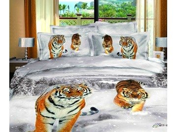 3D Tiger in Snow Printed Cotton 4-Piece Bedding Sets/Duvet Covers