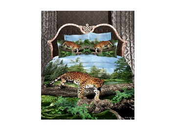 3D Leopard and Green Tree Printed Cotton 4-Piece Bedding Sets/Duvet Covers