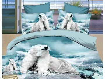 3D Polar Bear Printed Cotton 4-Piece Blue Bedding Sets/Duvet Covers