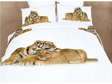 3D Lion and Tiger Printed Cotton 4-Piece White Bedding Sets/Duvet Covers