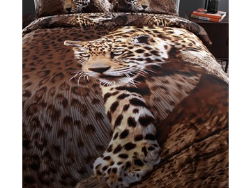 100% Cotton Sexy Leopard Animal Print 4 Piece Bedding Sets