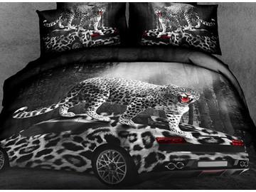 3D Leopard Car Printed Cotton 4-Piece Bedding Sets/Duvet Covers