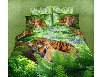 New Arrival High Quality Green Color Tiger Print 4 Piece Bedding Sets