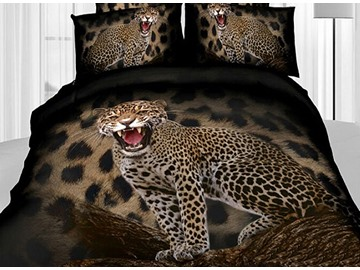 3D Roaring Leopard Printed Cotton 4-Piece Bedding Sets/Duvet Covers